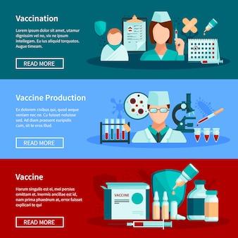 Le insegne orizzontali piane di vaccinazione con la vaccinazione dei bambini di produzione del vaccino e l'insieme delle composizioni di progettazione dei prodotti del vaccino di pronto per l'uso vector l'illustrazione
