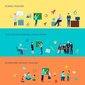 Le insegne variopinte orizzontali piane orizzontali del fondo di sviluppo 3 degli insegnanti di scuola elementare e secondaria hanno messo l'illustrazione di vettore isolata