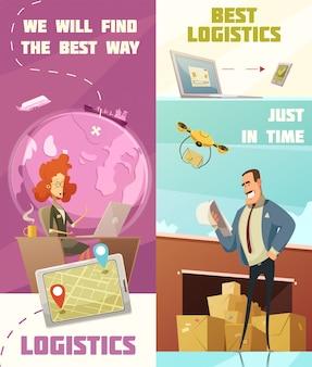 Le insegne verticali del fumetto di logistica messe con i simboli del carico hanno isolato l'illustrazione di vettore