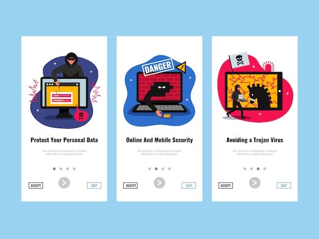 Le insegne verticali del pirata informatico hanno messo con l'illustrazione isolata piano di simboli di protezione dei dati personali