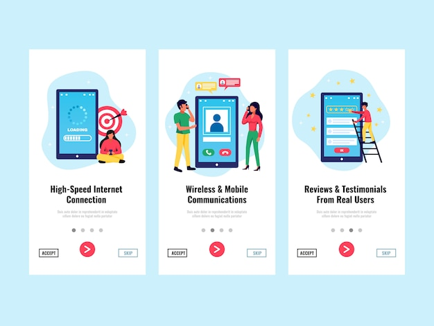 Le insegne verticali dell'applicazione mobile hanno messo con l'illustrazione isolata piano di simboli del collegamento a internet