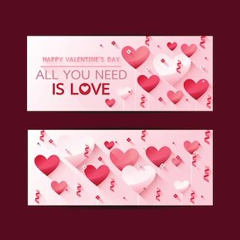 Le insegne verticali di san valentino felici hanno messo con i cuori