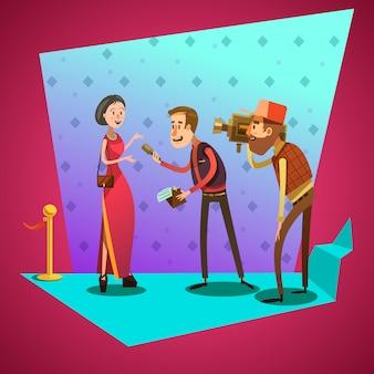 Le interviste del giornalista sono protagoniste del cartone animato retrò di evento celevrity