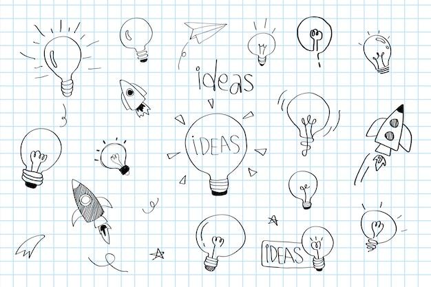 Le lampadine di idee di creatività scarabocchiano il vettore della raccolta