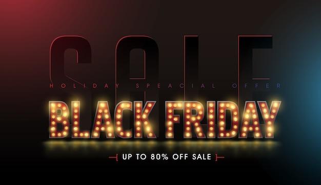 Le lampadine retrò firmano il modello di progettazione di banner di vendita venerdì nero.