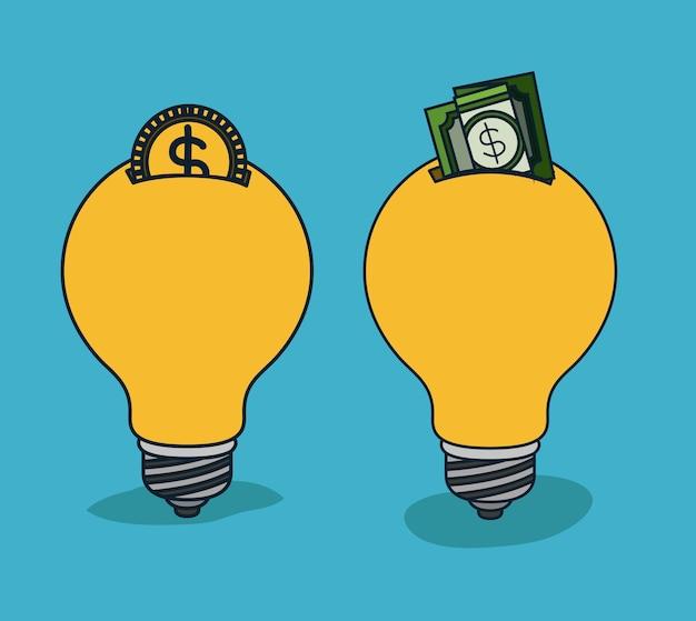 Le lampadine si accendono nella forma del contenitore di soldi con la moneta e la banconota in dollari