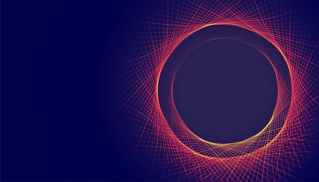 Le linee circolari astratte incorniciano il fondo con lo spazio del testo