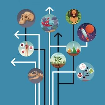 Le linee e le frecce blu del fondo si sono collegate all'evoluzione del mondo delle icone