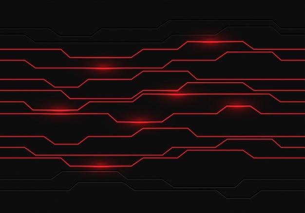 Le linee rosse si illuminano geometriche su sfondo futuristico grigio scuro.