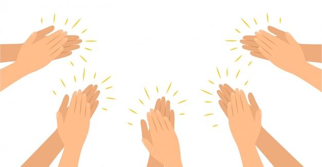 Le mani applaudono in stile piatto, applausi, congratulazioni, applausi.