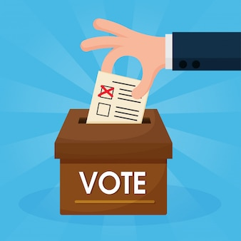 Le mani cartoon che stanno votando sono messe nella scatola marrone