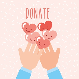 Le mani con i cuori kawaii amano donare carità