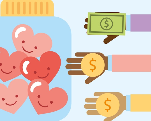 Le mani con la banconota dei soldi e i cuori amano la carità