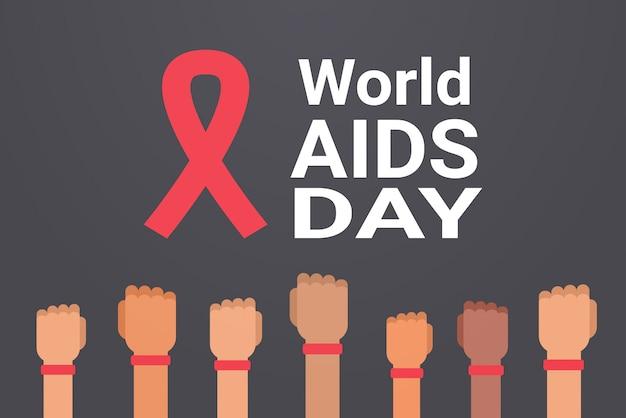 Le mani di consapevolezza della giornata mondiale dell'aids con il nastro rosso firmano la prevenzione medica