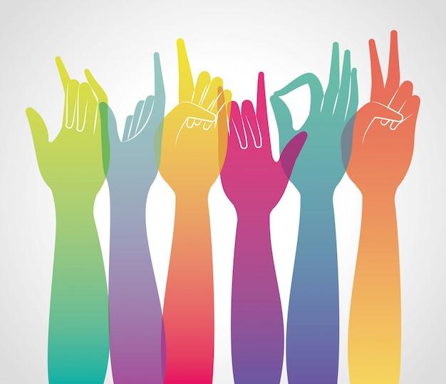 Le mani multicolori di pendenza su della persona del dito del braccio della gente imparano l'illustrazione di tema di sanità della comunicazione