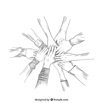 Le mani schizzi lavorano insieme