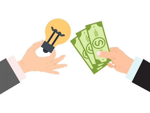 Le mani tengono la lampadina e l'illustrazione dei soldi.
