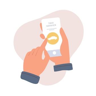Le mani tengono uno smartphone e scelgono un'auto in un'applicazione mobile. servizio di chiamata taxi. servizio di ordinazione auto online. illustrazione piatta su sfondo chiaro isolato.