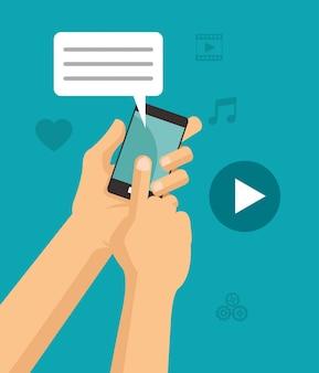 Le mani toccano la chat per smartphone riproducono video