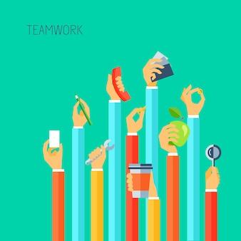 Le mani umane che tengono il concetto differente di lavoro di squadra degli oggetti vector l'illustrazione