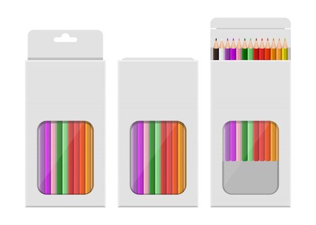 Le matite colorate progettano l'illustrazione isolata su fondo bianco