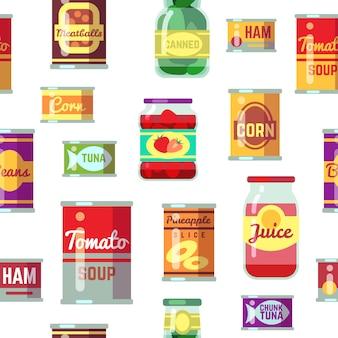 Le merci inscatolate e l'alimento nel metallo contenitore vector il modello senza cuciture. illustrazione senza cuciture in scatola del contenitore
