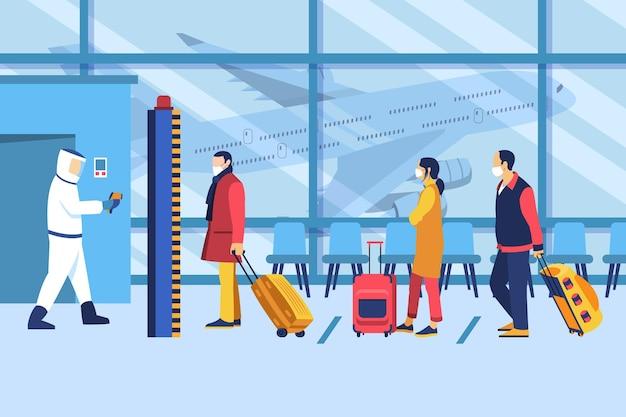 Le misure preventive dell'aeroporto che la gente aspetta in fila