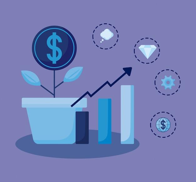 Le monete piantano con le icone dell'insieme economia finanza