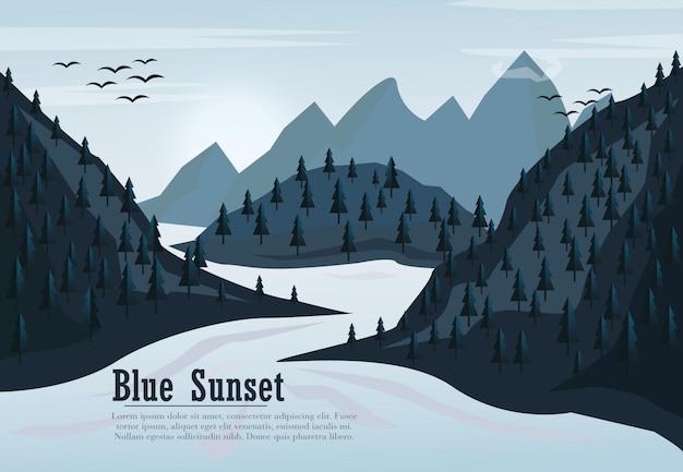 Le montagne invernali pianeggianti abbelliscono con le colline