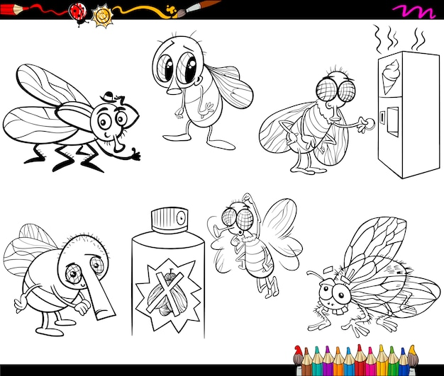 Le mosche impostano la pagina da colorare dei cartoni animati