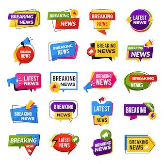 Le notizie annunciano. pubblicità che rompe le offerte speciali offre modelli geometrici di badge per report