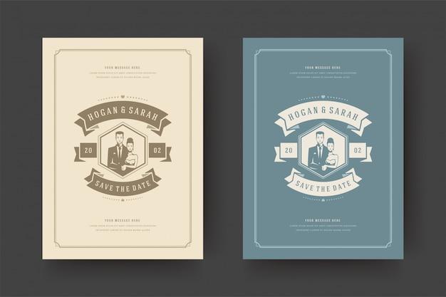 Le nozze salvano l'illustrazione di vettore della carta dell'invito della data.