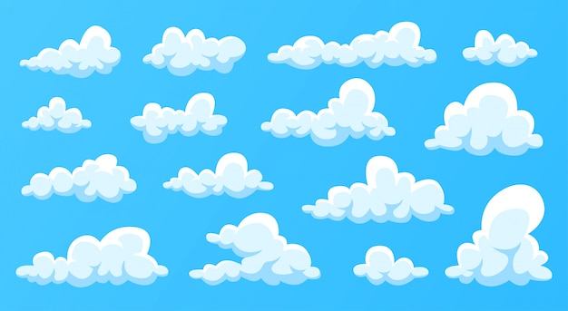 Le nuvole hanno messo isolato su un fondo blu. design semplice e simpatico cartone animato.