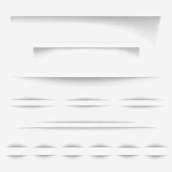 Le ombre di carta producono l'illustrazione oi bordi realistici della pagina bianca per il sito web