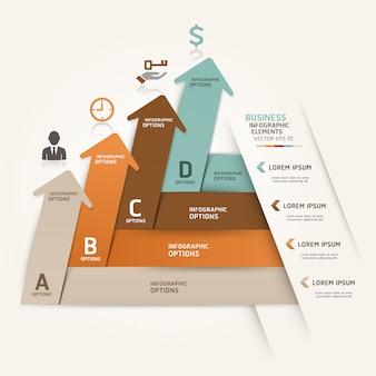 Le opzioni di aumento di stile moderno di origami freccia business possono essere utilizzate per il layout del flusso di lavoro, diagramma, opzioni di numero, web design, infografica.