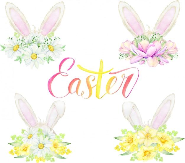 Le orecchie del coniglietto pasquale, fiori. concetto dell'acquerello, su uno sfondo isolato.