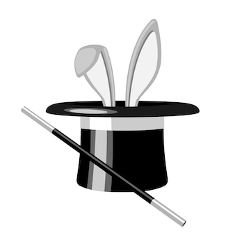 Le orecchie di coniglio bianche appaiono dal cappello magico, su sfondo bianco. illustrazione