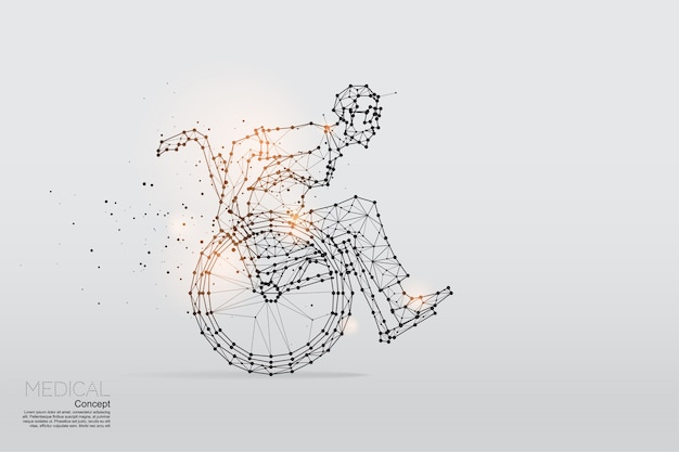 Le particelle, l'arte geometrica dell'uomo d'affari sulla sedia a rotelle.