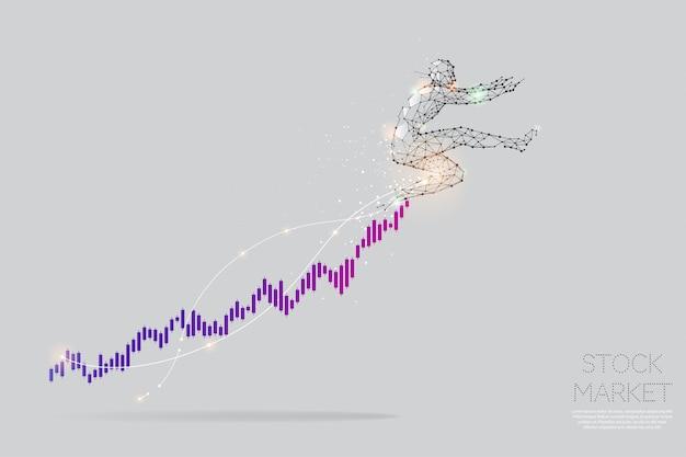 Le particelle, l'arte geometrica, la linea e il punto del concetto di grafico azionario.