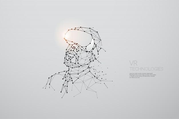 Le particelle, l'arte geometrica, la linea e il punto della tecnologia vr