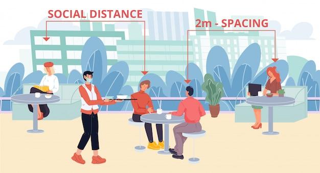Le persone a distanza sociale sulla terrazza del caffè