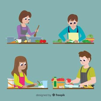 Le persone alla collezione di cucina