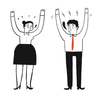 Le persone alzano le mani su entrambi i lati