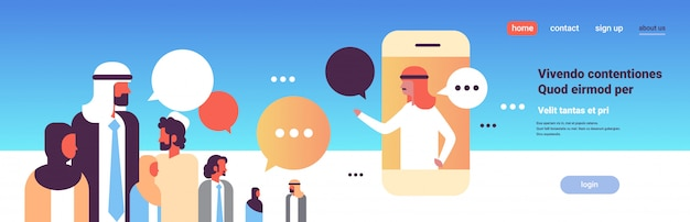 Le persone arabe chiacchierano bolle discorso dialogo comunicazione applicazione mobile
