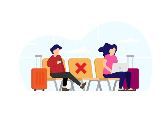 Le persone aspettano alla panchina dell'aeroporto di allontanamento sociale mentre viaggiano alla nuova normalità