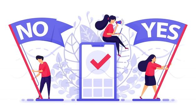 Le persone battono bandiera per scegliere sì o no per dare un feedback.