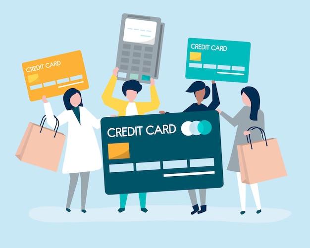 Le persone che acquistano con una carta di credito