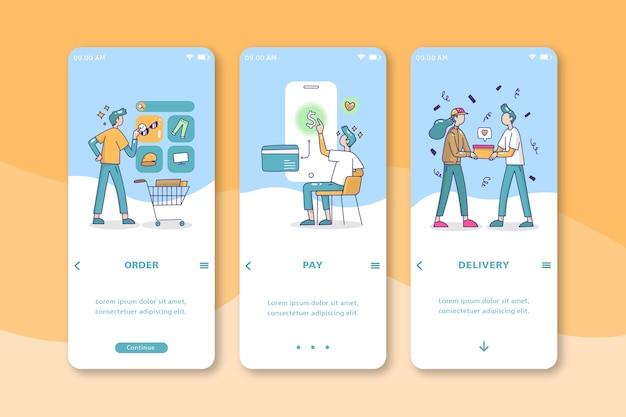 Le persone che acquistano il design dell'interfaccia mobile online