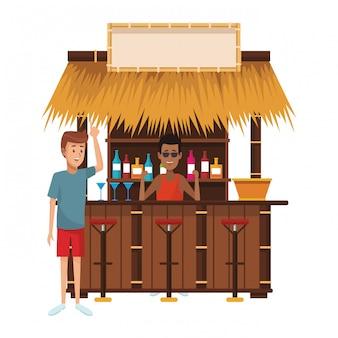 Le persone che bevono in estate