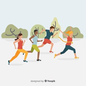Le persone che corrono una gara di maratona